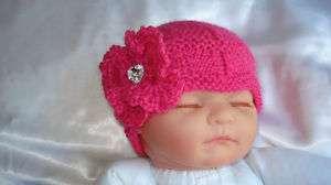 HAND KNITTED BABY BEANIE HAT PINK HEART DIAMANTE 0 24 M
