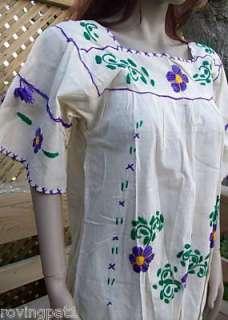 679 VTG OLD Mexican Hippie Boho Long Caftan Dress NEW