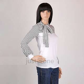 Elegant Fashion Womens Ladies Puff Long Sleeve Stripe bowtie T Shirt