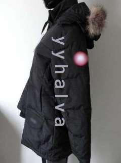 2012 New Womens Black goose down winter coat jacket parka long hoody