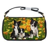 Border Collie Dog Leather Shoulder Clutch Handbags Bag