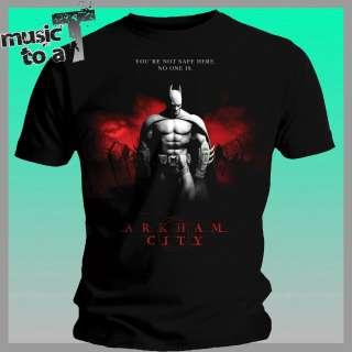 mens OFFICIAL Batman Arkham City Black T Shirt One Sheet size S XL