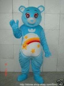 BLUE TEDDY BEAR RAINBOW ADULT CARTOON MASCOT COSTUME
