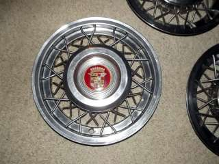 53 54 55 Cadillac Wire Wheel Covers Disc Hubcaps   Set of 4