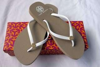 NEW Tory Burch Khaki White Thin Flip Flops Sandals 7 No Longer Made