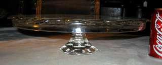 LG. ANTIQUE FLORAL GOLD TRIM EAPG ART GLASS CRYSTAL CAKE PEDESTAL