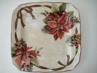 222 FIFTH YULETIDE POINSETTIA APPETIZER PLATES S/4