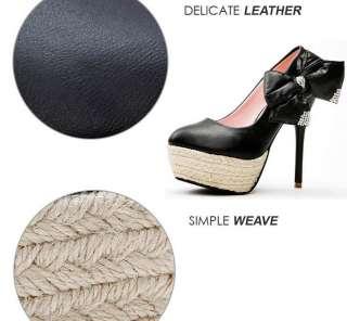 Weave Platform High Heel Bowknot Women Shoes Black/Ivory