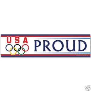 OLYMPIC RINGS USA PROUD BUMPER STICKER USOC