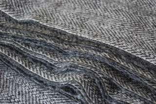 Gray White Black CHEVRON Wool Upholstery Fabric 3+ Yrds