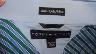 TOMMY HILFIGER COTTON XXL GREEN BLUE STRIPES LONG SLEEVE SHIRT FRENCH
