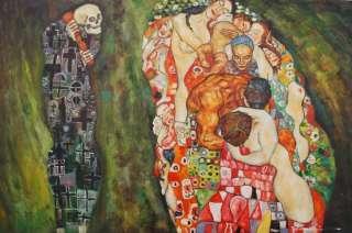 Gustav Klimt Art People Figures Death & Life Repro 24X36 Oil Painting