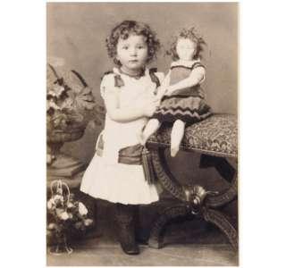 PRETTY LITTLE GIRL with big doll CDV PHOTO 1880s