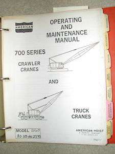 SERIES CRAWLER TRUCK CRANE OPERATOR MAINTENANCE SERVICE MANUAL BOOK