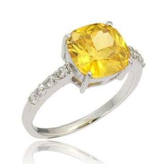 Cushion Yellow CZ Cubic Zirconia Womens Fashion Anniversary Ring New