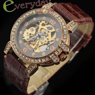 New Coffee Diamond Fashion Lady Automatic Mechanical Watch Skeleton