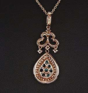 EFFY BELLA BLEU ROSE GOLD BLUE AND WHITE PAVE DIAMOND TEARDROP