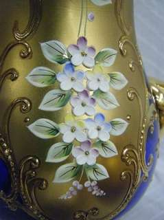 Cobalt Blue Glass Gold Gilt Raised Enamel Tea Set Cups&Saucers
