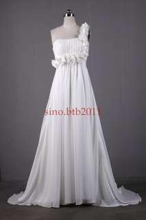One shoulder Beach Wedding Dress Bridal Evening Dress Size 4 6 8 10 12