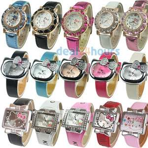 New Leather & PU HelloKitty Cute Ladies Fashion Crystal Quartz Band