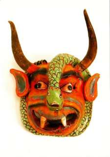 Demon Devil and Snake Mask from Mexico Postcard