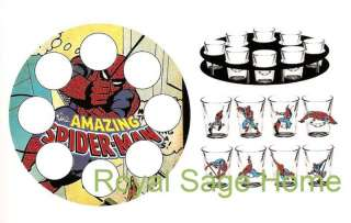MCR1804 MARVEL Comics Spiderman Shot Glasses with Tray Set/9