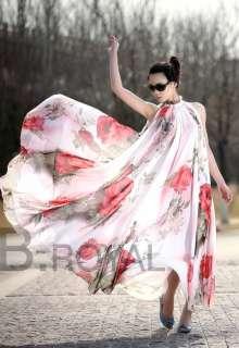 Summer Style Elegant Lotus Leaf Big Hem Chiffon Maxi Dress