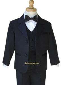NEW Toddler BOY FORMAL 5 Pcs TUXEDO Set BLACK sz 5/6/7