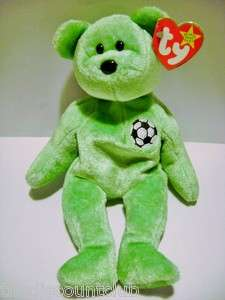 TY BEANIE BABIES COLLECTION 1999~KICKS~ the Soccer Bear Plush Toy