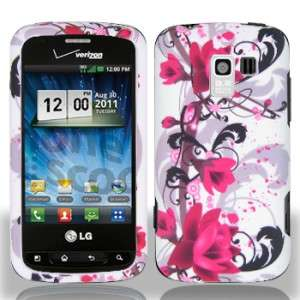 White Purple Flower HARD Protector Case Phone Cover Verizon LG