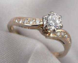 Estate 14K Solid Yellow GOLD 0.62ctw DIAMOND ENGAGEMENT RING 2.8 Grams