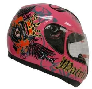 PINK ROYAL FULL FACE MOTORCYCLE HELMET STREET BIKE ~S