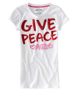 aeropostale womens give peace graphic t shirt