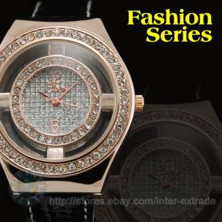 Rose gold Black Lady Crystal Fashion Dress Wrist Watch