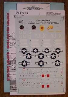SUPERSCALE DECALS 1/72 P 47D THUNDERBOLT RAZORBACK 72 688 EL DIABLO