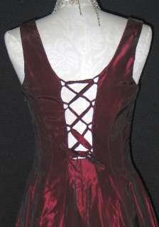 Jessica McClintock Burgundy Taffeta Corset Dress Gown Size 4