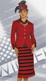 Tango 4725 Womens Red + Black Church Dress Skirt Jacket 2 pc Suit