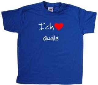 Ich Liebe Qualle Kinder T Shirt, Blau  Bekleidung