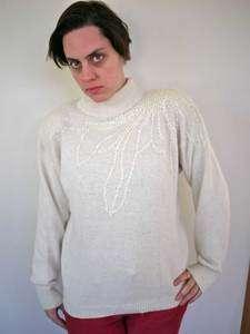 Vtg 80s Silk Angora Wool White Sequins Sprkle Sweater L