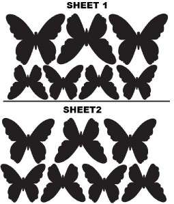 14 Silhouette Butterfly Wall Stickers Removable Nursery |