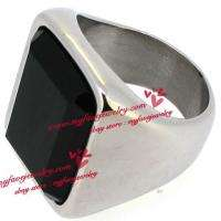 HUGE Rectangle 20MM Onyx Stainless Steel Polished Ring