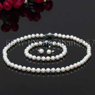 CLASP AAA 7 8MM WHITE SETS AKOYA PEARL NECKLACE BRACELETS EARRINGS