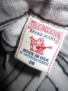 True Religion STELLA Grey Stone Acid Wash Womens Skinny Slim Jeans 28