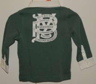 Burbery Baby Boy Infant Long Sleeve Green Polo Shirt , size 18m/85cm