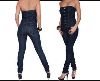 damen jeans overall kurz hot pants bandeau top blau gr s 36 m 38. Black Bedroom Furniture Sets. Home Design Ideas