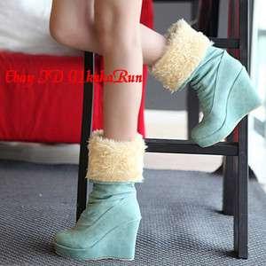 Womens Winter Faux Fur Wedge Platform High Heel Mid Calf Boots