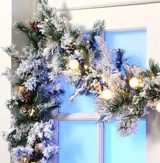 COLIN COWIE 9 FT FLOCKED PRELIT LED CHRISTMAS WHITE GARLAND
