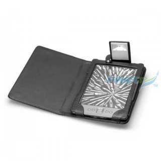 BLACK PU LEATHER CASE COVER FOR  KINDLE 4 WITH BUILT IN LED