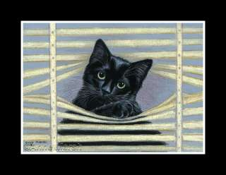 BLACK CAT NOSEY NEIGHBOUR PRINT OF PAINTING ANNE MARSH