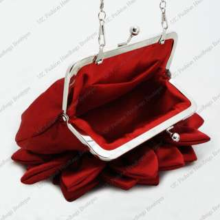 SATIN FLORAL / ROSE CRYSTAL PATTERN EVENING CLUTCH BAG